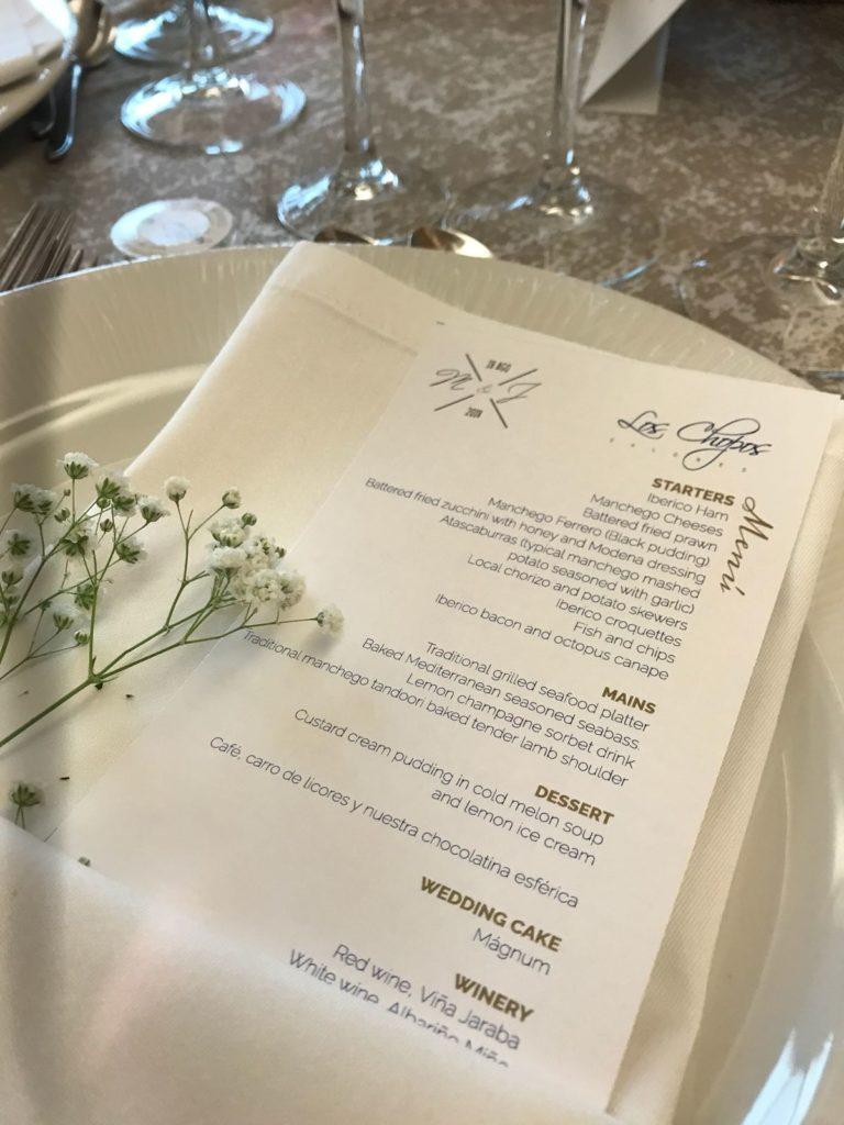 minutas de boda inglés